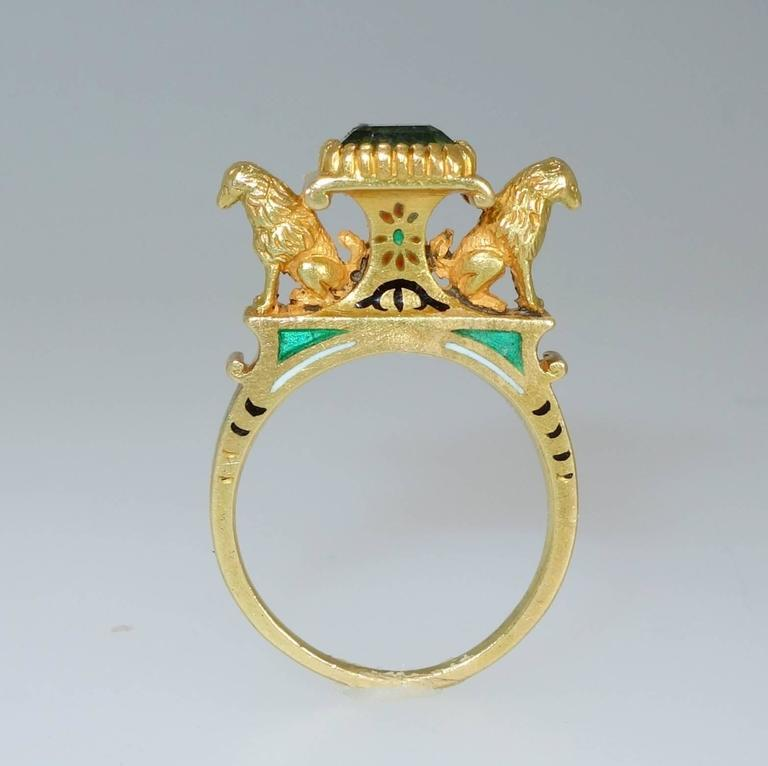 Antique French Renaissance Revival Enamel Gold Ring In Excellent Condition In Aspen, CO