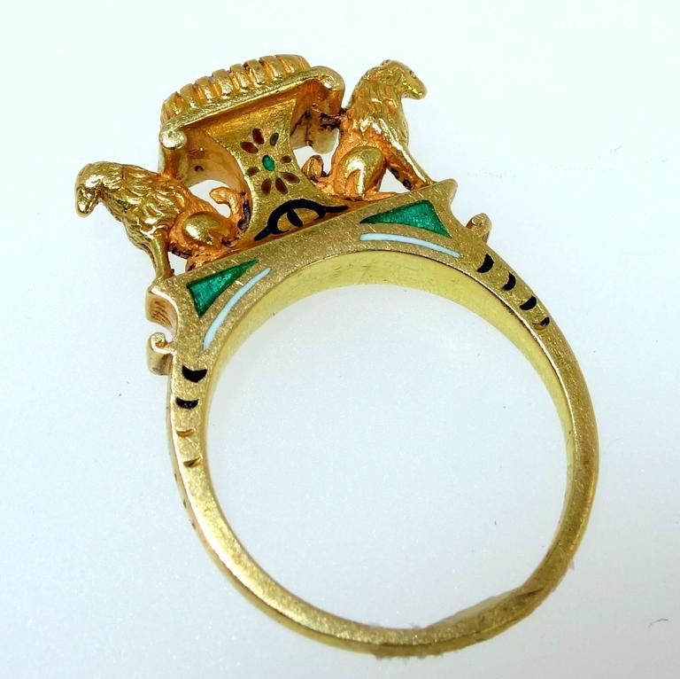 Women's or Men's Antique French Renaissance Revival Enamel Gold Ring
