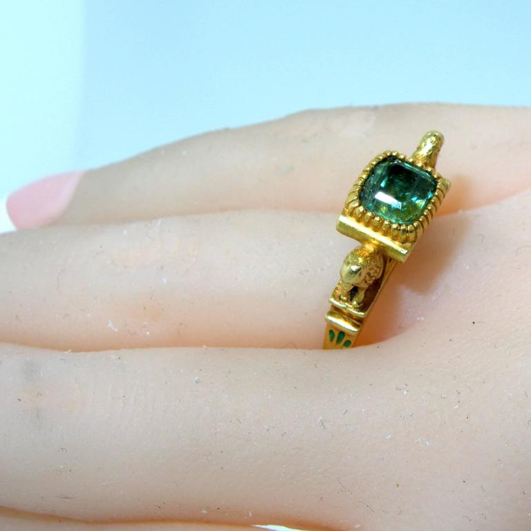 Antique French Renaissance Revival Enamel Gold Ring 2