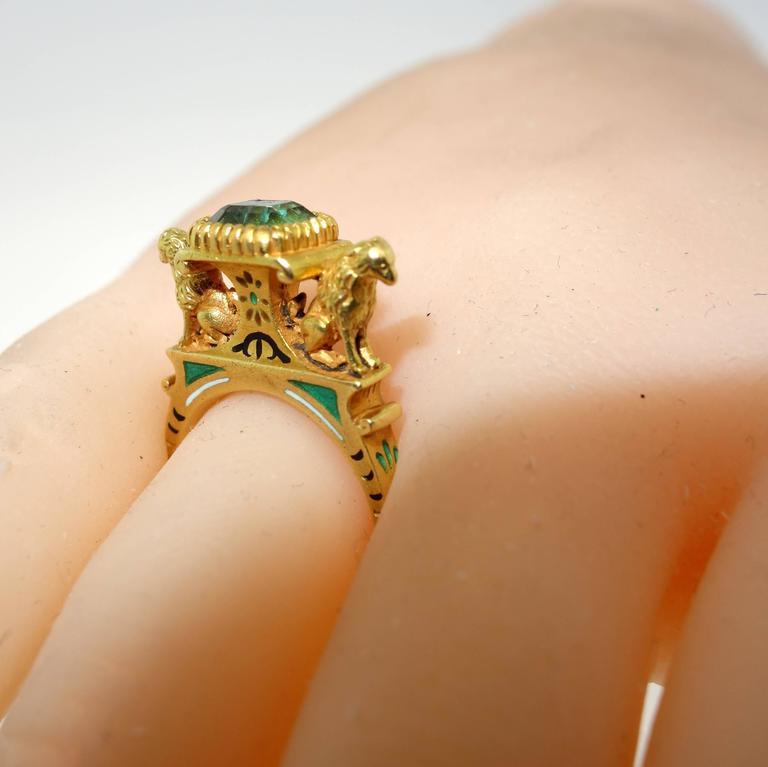 Antique French Renaissance Revival Enamel Gold Ring 3