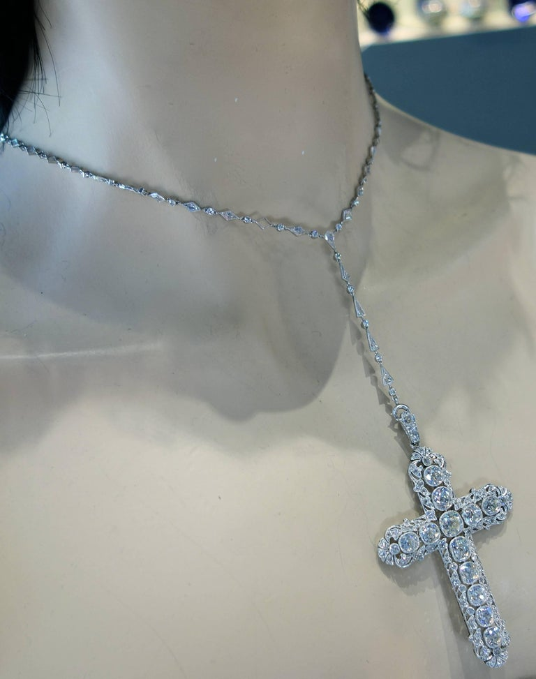 Women's or Men's Important Large Antique Diamond Platinum Cross and Chain For Sale
