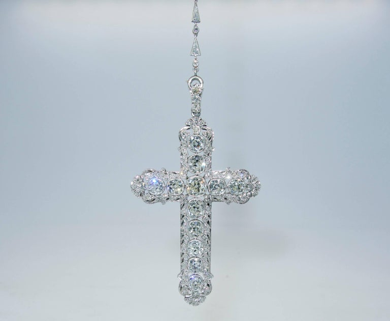 Important Large Antique Diamond Platinum Cross and Chain 6