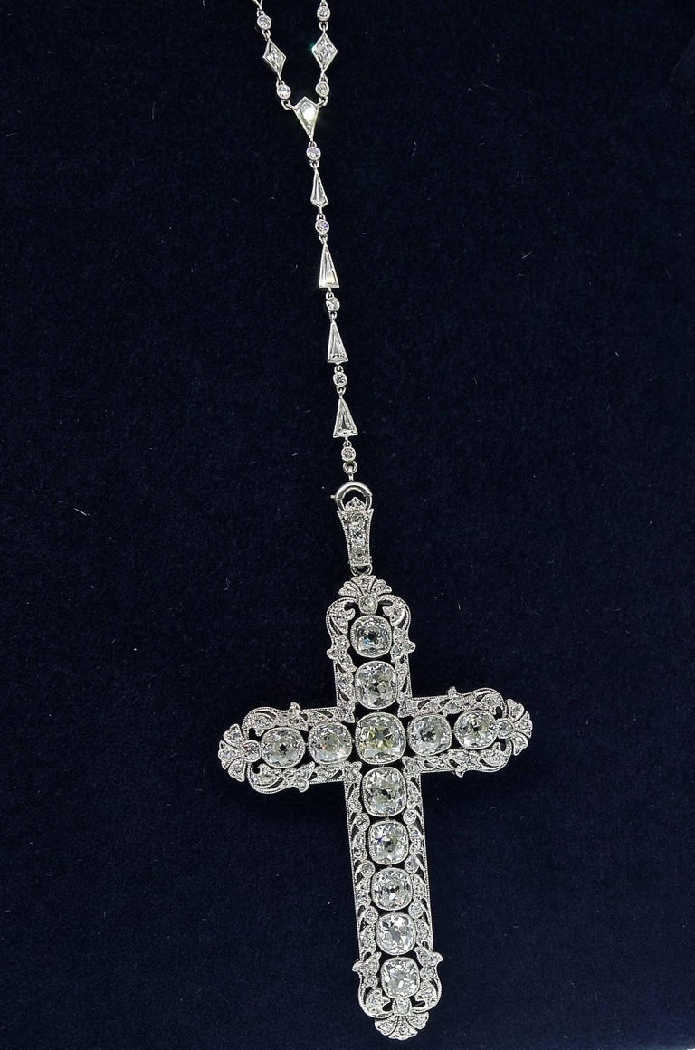 Important Large Antique Diamond Platinum Cross and Chain 7