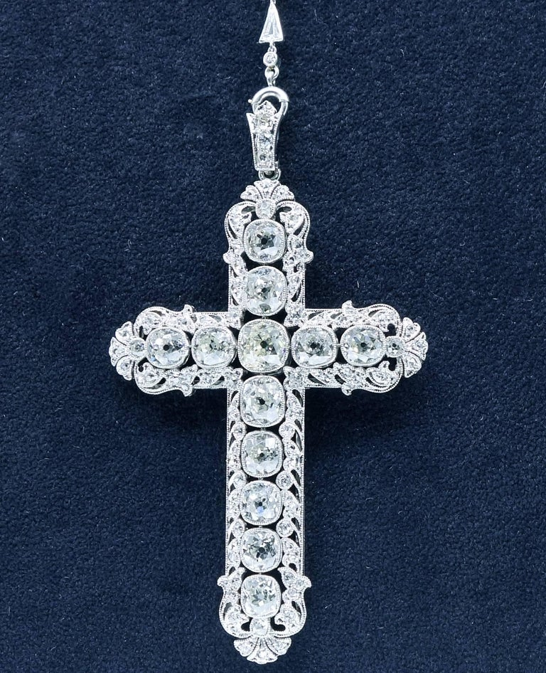 Important Large Antique Diamond Platinum Cross and Chain For Sale 4