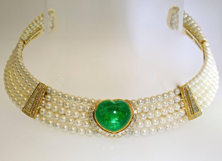 Important Heart Shaped Emerald, Diamond and Pearl Choker Necklace 3