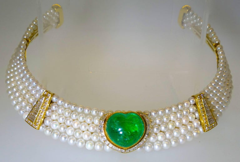 Important Heart Shaped Emerald, Diamond and Pearl Choker Necklace 4