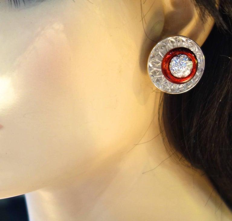 David Webb Rock Crystal, Diamonds and Red Enamel Earrings For Sale 1