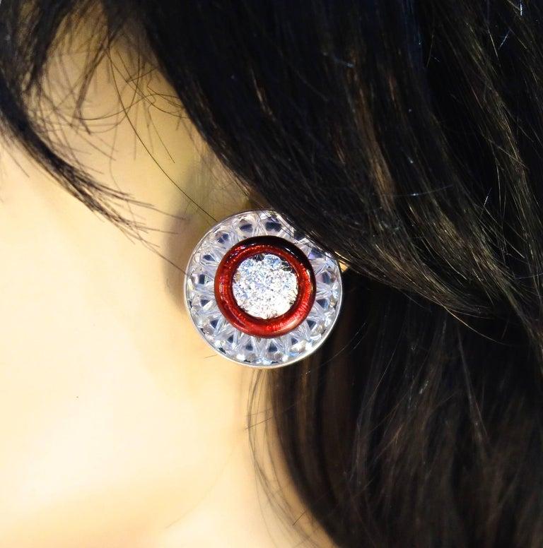 Women's or Men's David Webb Rock Crystal, Diamonds and Red Enamel Earrings For Sale