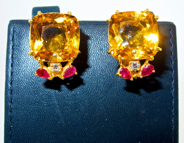 Women's or Men's Retro Citrine, Ruby and Diamond Earrings, mid 20th century. For Sale