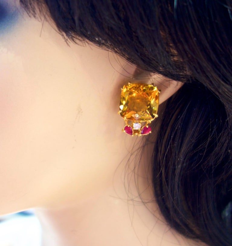Retro Citrine, Ruby and Diamond Earrings, mid 20th century. For Sale 1
