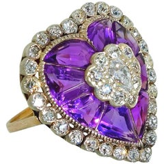 Antique Diamond and Unusual Fancy Cut Amethysts Ring, circa 1880