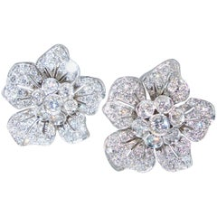 Diamond Earrings of a Charming Floral Motif