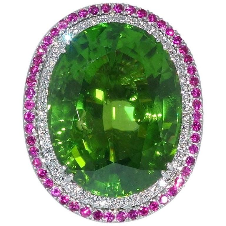 Peridot, Ruby and Diamond Handmade Platinum Ring For Sale