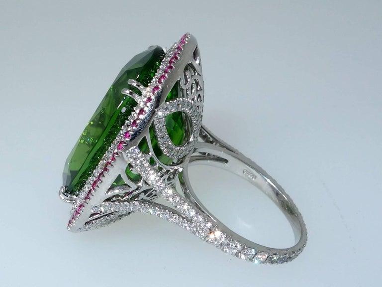 Contemporary Peridot, Ruby and Diamond Handmade Platinum Ring For Sale