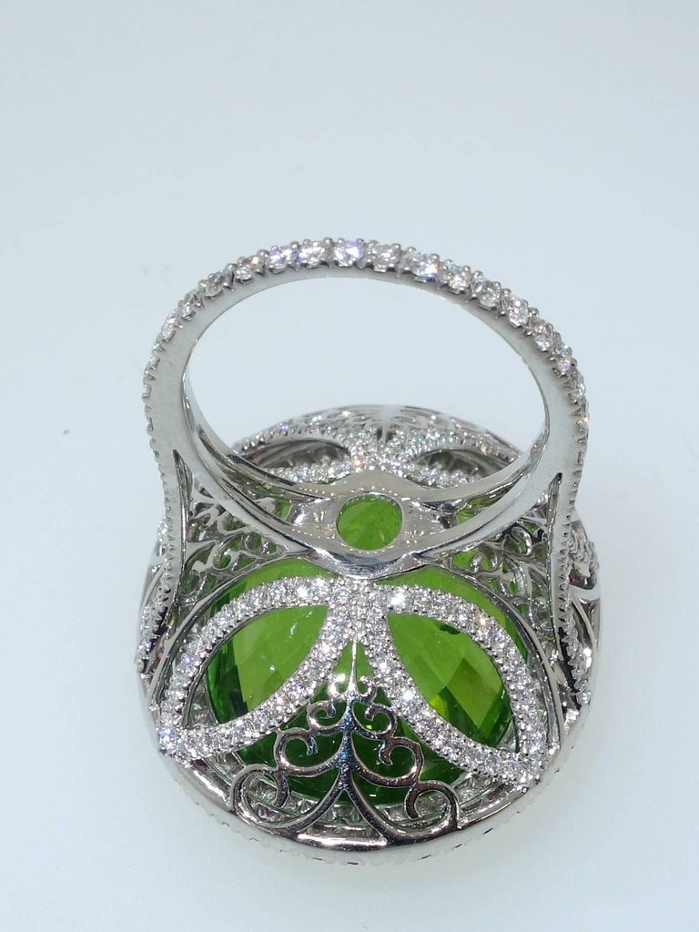 Peridot, Ruby and Diamond Handmade Platinum Ring In Excellent Condition For Sale In Aspen, CO