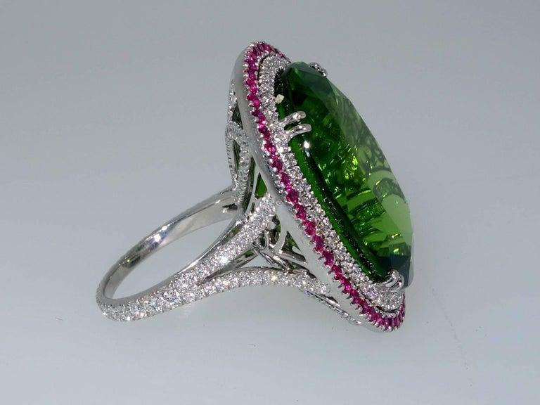 Women's Peridot, Ruby and Diamond Handmade Platinum Ring For Sale