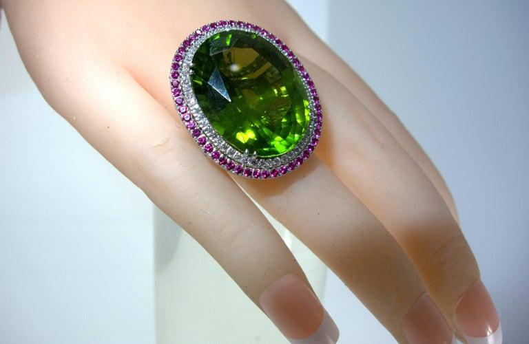 Peridot, Ruby and Diamond Handmade Platinum Ring For Sale 1