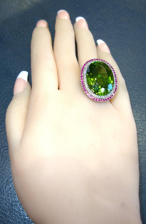 Peridot, Ruby and Diamond Handmade Platinum Ring For Sale 2