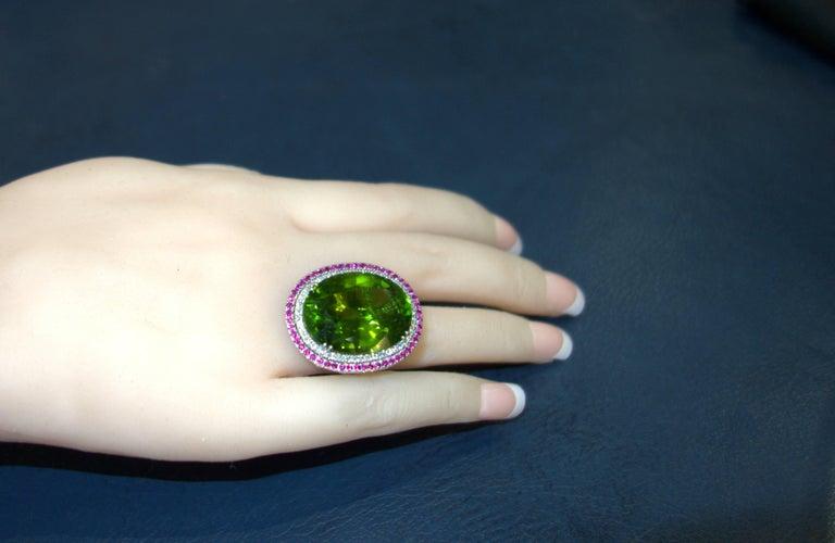 Peridot, Ruby and Diamond Handmade Platinum Ring For Sale 4