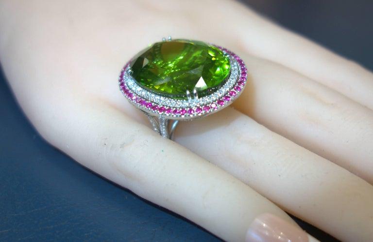 Peridot, Ruby and Diamond Handmade Platinum Ring For Sale 5