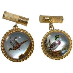 Reverse Painting under Crystal, Hunting Motif Cufflinks, circa 1935