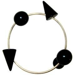 Modernistic Blackened Steel Bracelet