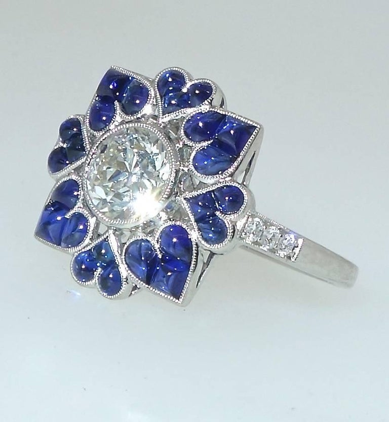 Platinum, Diamond and Sapphire Ring, Pierre/Famille 4
