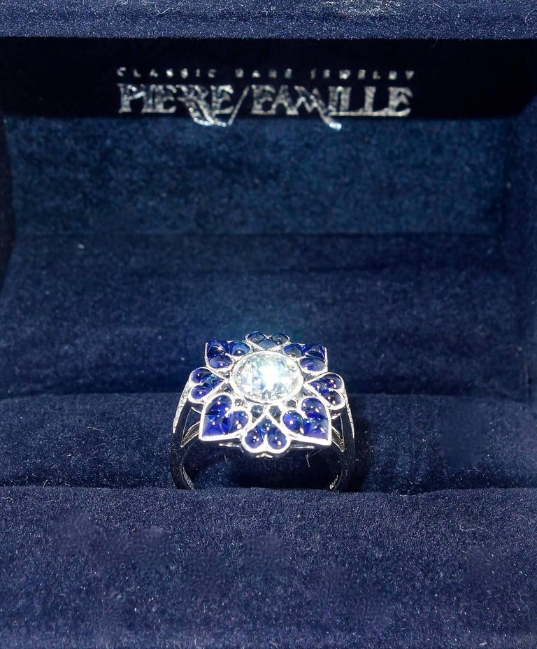 Platinum, Diamond and Sapphire Ring, Pierre/Famille 5