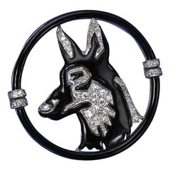 Art Deco Enamel, Diamond and Platinum Dog Brooch by Black, Starr & Frost