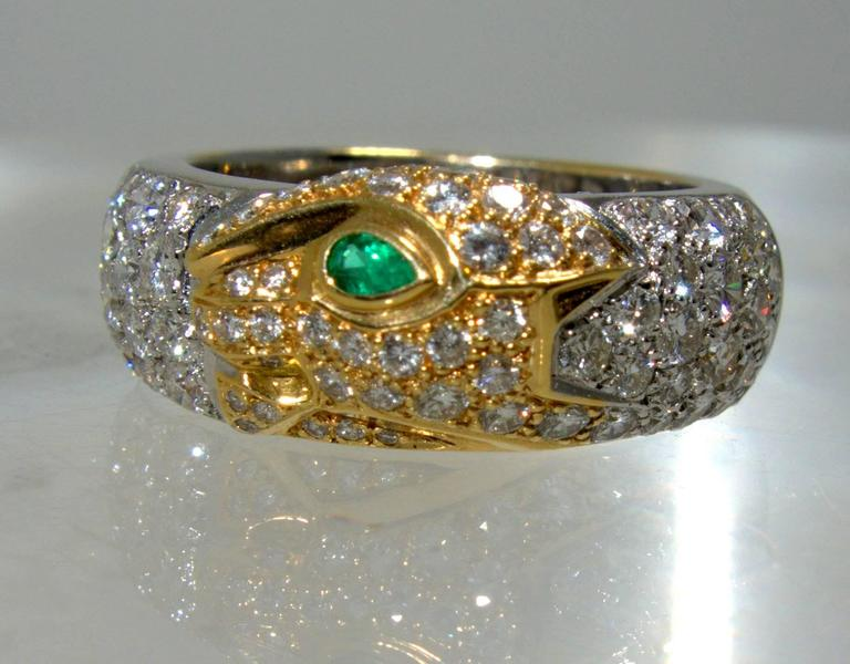 Women's Cartier Emerald Diamond Gold Panther Band Ring