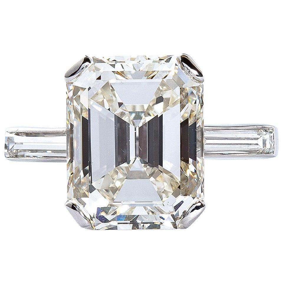 5 Carat Emerald Cut Diamond Platinum Engagement Ring GIA Certified
