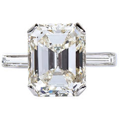 5 Carat Emerald Cut Diamond Platinum Engagement Ring GIA Certified