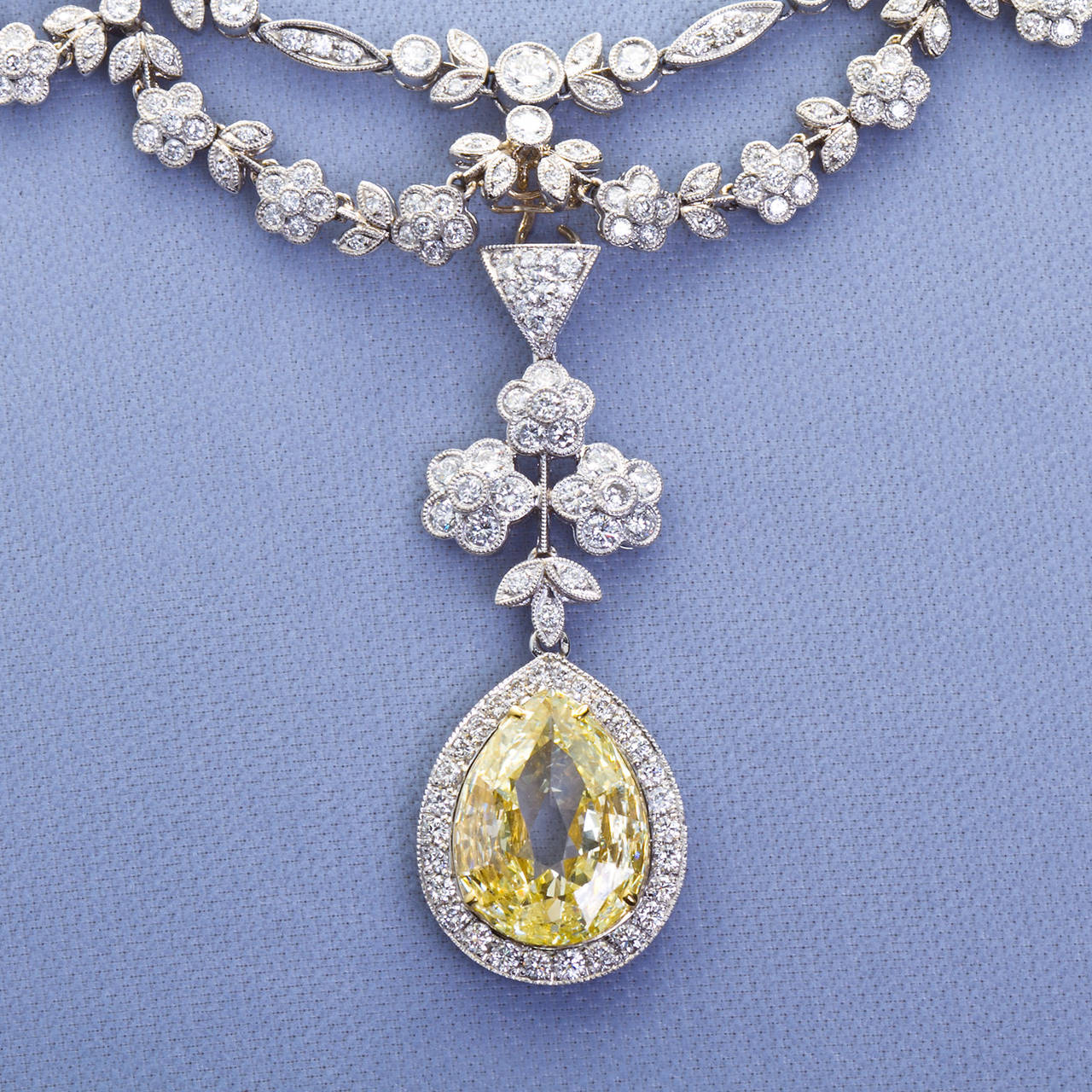 Antique 5.06 Carat Fancy Yellow Pear Shaped Diamond Drape Necklace 3