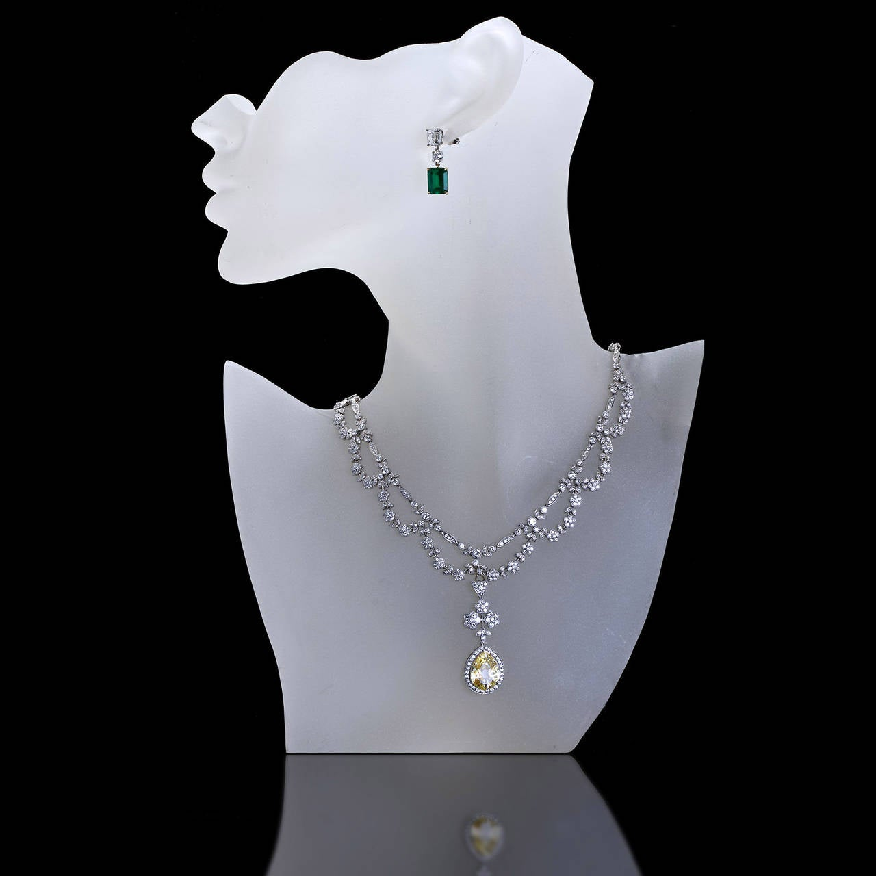 Antique  5.06 Carat Fancy Yellow Pear Shaped Diamond Drape Necklace 6