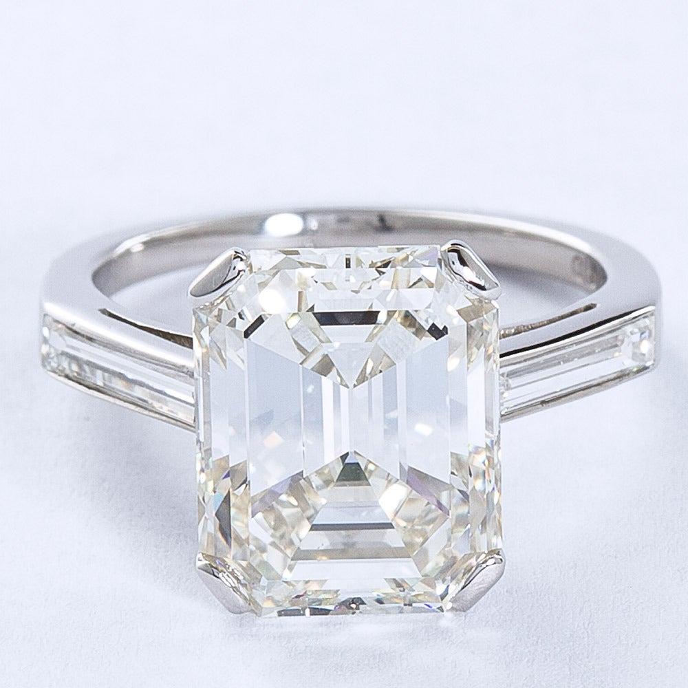 5 11 carat emerald cut platinum engagement ring
