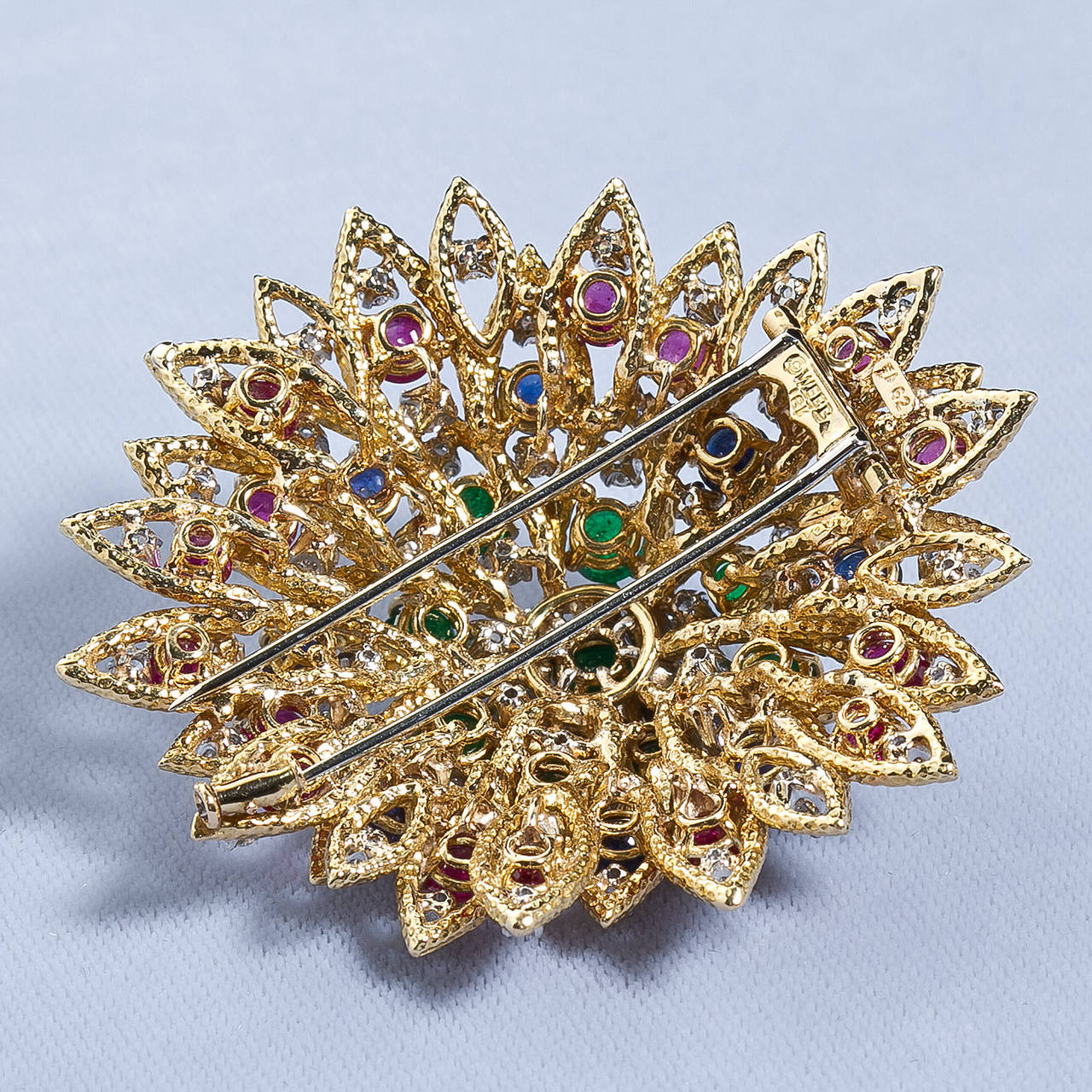 David Webb Multi Gem Ruby Emerald Sapphire Diamond Gold Flower Brooch For Sale 1