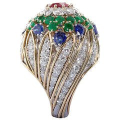 David Webb Multi Gem Gold Dome Ring