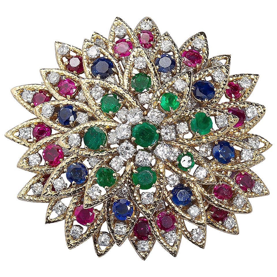 David Webb Multi Gem Ruby Emerald Sapphire Diamond Gold Flower Brooch For Sale