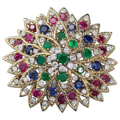 David Webb Multi Gem Ruby Emerald Sapphire Diamond Gold Flower Brooch