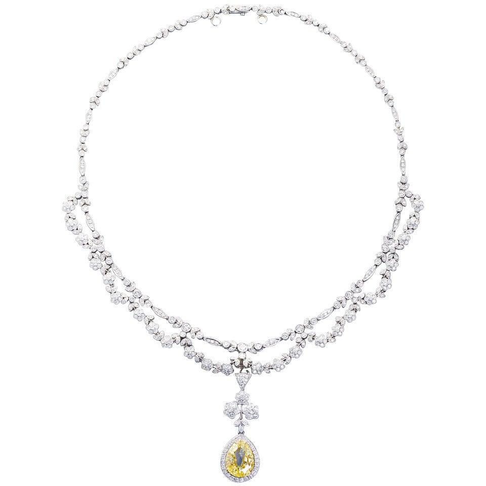 Antique  5.06 Carat Fancy Yellow Pear Shaped Diamond Drape Necklace 1