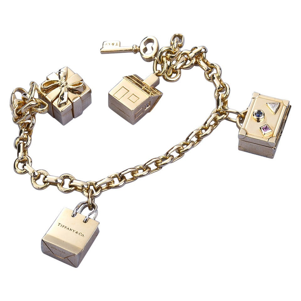 Gold Charm Bracelet Charms: Tiffany And Co. Gold Charm Bracelet At 1stdibs