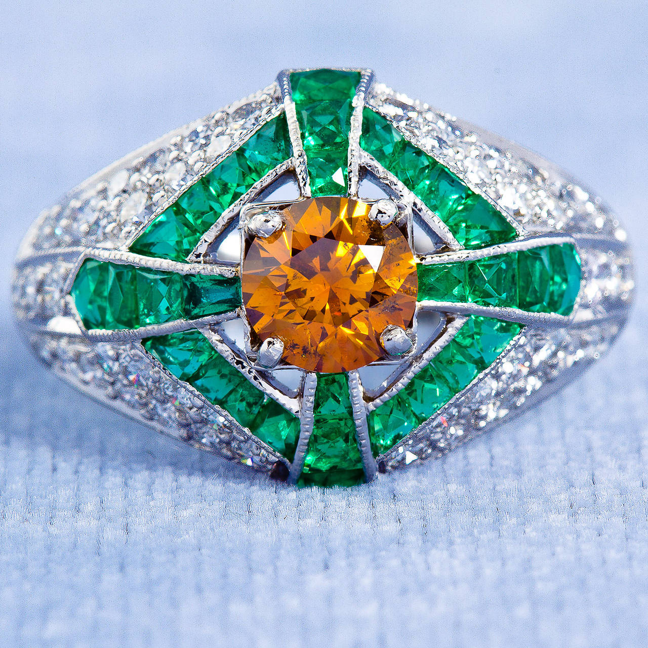 Natural Fancy Vivid Orange Yellow Diamond Dome Ring GIA Certified For Sale 1