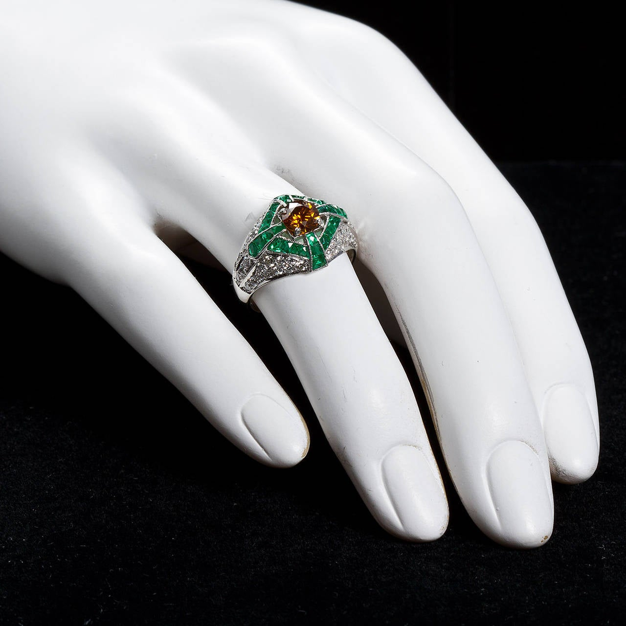 Art Deco Natural Fancy Vivid Orange Yellow Diamond Dome Ring GIA Certified For Sale