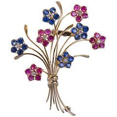 Van Cleef & Arpels French Ruby Sapphire Flower Brooch