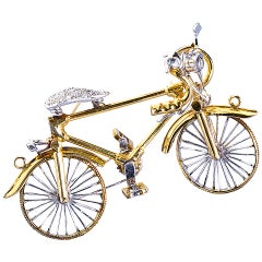 Diamond Gold Bicycle Brooch Pendant Charm