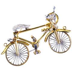 Diamond Bicycle Brooch