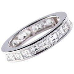 French Cut Diamond White Gold Eternity Band 22 Stones, 4.50 Carat