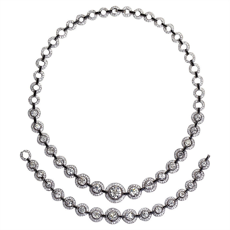 30 Carat Art Deco Diamond Onyx Platinum Necklace Bracelet Set