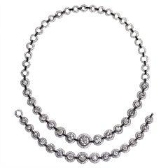 30 Carat Art Deco Diamond Onyx Platinum Necklace Bracelet Set