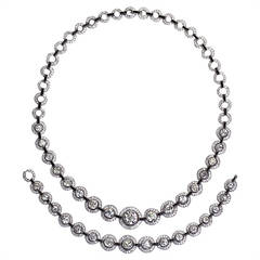 Exceptional Art Deco Diamond and Onyx Platinum Necklace and Bracelet Set